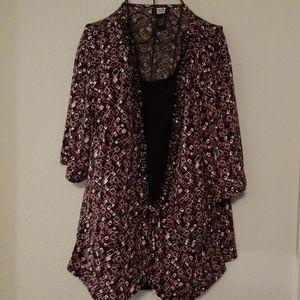 Studio 1940 Purple/Pink and Black Lycra Blouse